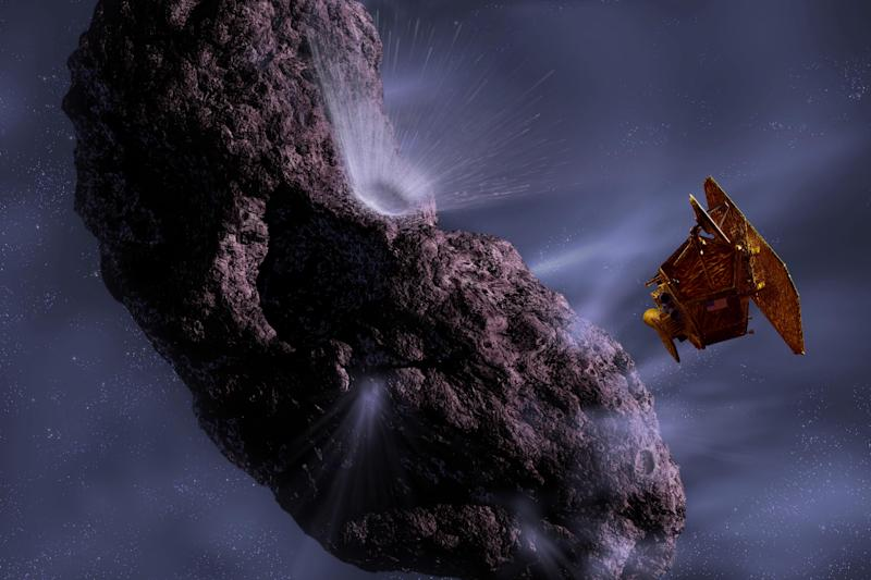 FILE - This 2005 file rendering by artist Pat Rawlings, released by NASA, shows the Deep Impact spacecraft's encounter with comet Tempel 1.  After eyeing a comet for the past four years, a NASA spacecraft will finally make its move. The Stardust craft is expected to fly within 125 miles (200 kilometers) of comet Tempel 1 on Valentine's night, Monday, Feb. 14, 2011, snapping pictures of the surface. Tempel 1 was visited by another NASA probe in 2005 when Deep Impact fired a copper bullet into the comet, excavating a crater. (AP Photo/NASA, Pat Rawlings, File)
