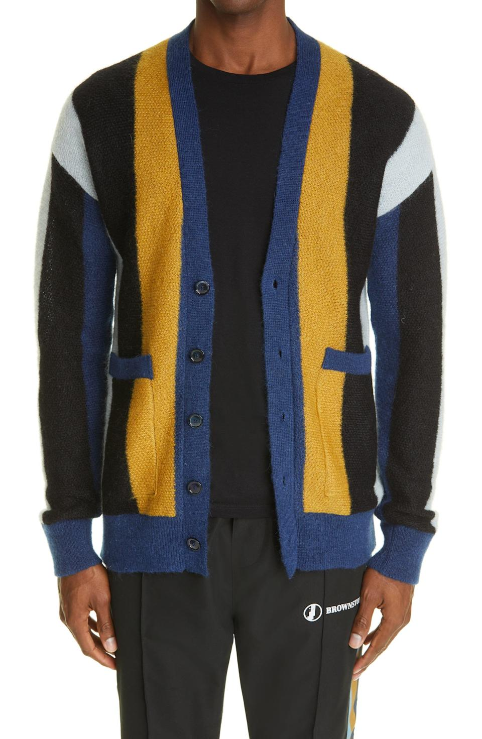 """<p><strong>BROWNSTONE</strong></p><p>nordstrom.com</p><p><strong>$279.00</strong></p><p><a href=""""https://go.redirectingat.com?id=74968X1596630&url=https%3A%2F%2Fwww.nordstrom.com%2Fs%2Fbrownstone-stripe-mohair-blend-cardigan%2F5900809&sref=https%3A%2F%2Fwww.esquire.com%2Fstyle%2Fg36535194%2Fnordstrom-mens-sale-half-yearly-spring-2021%2F"""" rel=""""nofollow noopener"""" target=""""_blank"""" data-ylk=""""slk:Shop Now"""" class=""""link rapid-noclick-resp"""">Shop Now</a></p><p>A statement cardigan that'll look good on cool nights now—and even better come fall.</p>"""