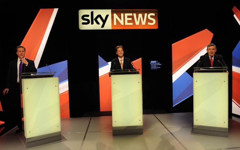 David Cameron, Nick Clegg, and Gordon Brown at the 2010 Sky News debate - Credit: Stefan Rousseau/AFP/Getty Images