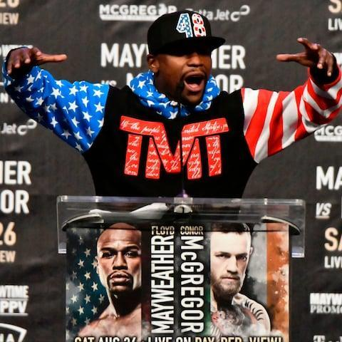 <span>Floyd Mayweather Jr. speaks about the upcoming fight against UFC fighter Conor McGregor</span> <span>Credit: AFP </span>