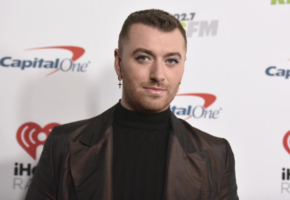 Sam Smith arrives at Jingle Ball on Friday, Dec. 6, 2019, at the Forum in Inglewood, Calif. (Photo by Richard Shotwell/Invision/AP)