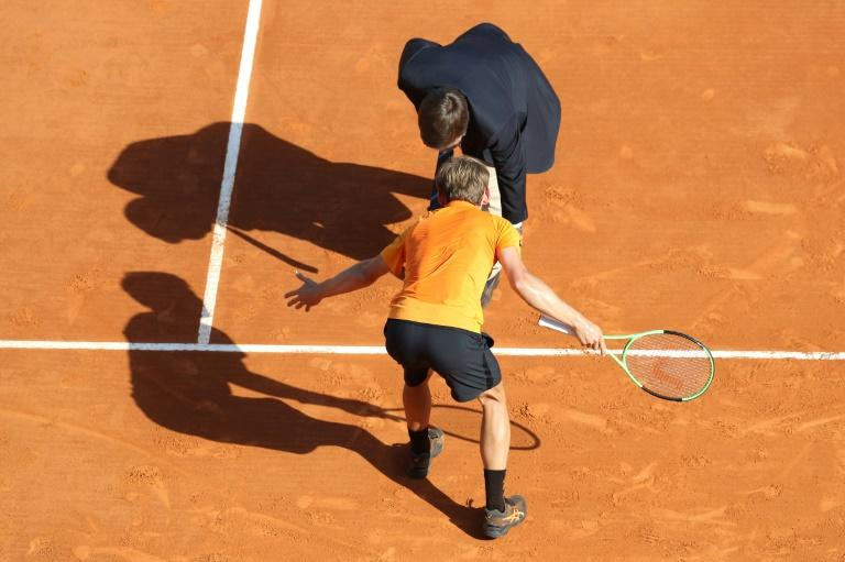 Belgium's David Goffin argues a point against Spain's Rafael Nadal during the Monte-Carlo ATP Masters Series Tournament tennis match, on April 22, 2017 in Monaco
