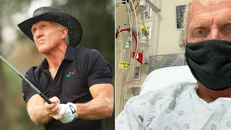 Pictured here, Greg Norman playing golf and on the right, lying in a Florida hospital bed with COVID-19.