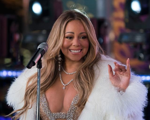 Mariah Carey during the New Year's Eve celebration in Times Square on Dec. 31, 2017. (Photo: Don Emmert/AFP/Getty Images)