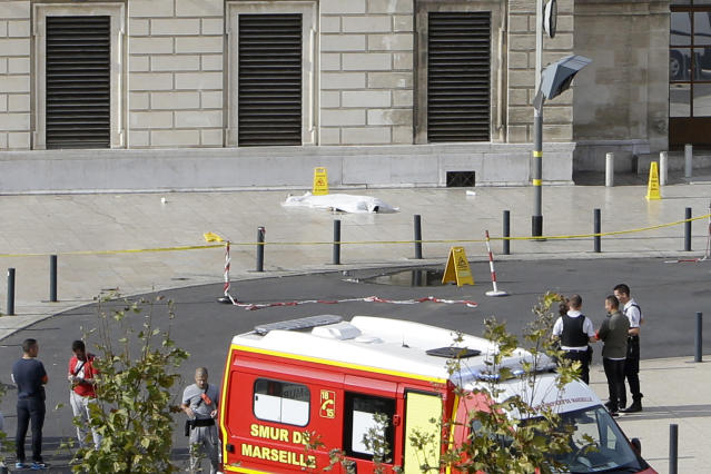 <p>A body lies under a white sheet outside Marseille 's main train station, Oct. 1, 2017 in Marseille, southern France. A man with a knife attacked people at the main train station in the southeastern French city of Marseille on Sunday, killing two women before soldiers fatally shot the assailant, officials said. (AP Photo/Claude Paris) </p>