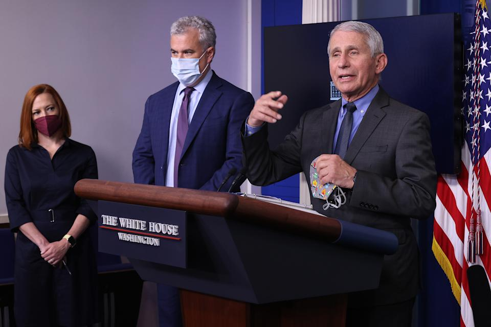 (L-R) White House Press Secretary Jen Psaki, COVID-19 Response Coordinator Jeff Zients and Director of the National Institute of Allergy and Infectious Diseases Dr. Anthony Fauci brief reporters in the Brady Press Briefing Room at the White House on April 13, 2021 in Washington, DC. (Chip Somodevilla/Getty Images)