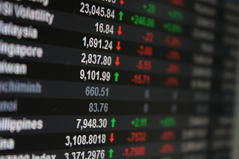 Asia Pacific Stock Exchange on board, display or monitor - selective focus
