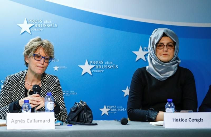 Callamard, U.N. Special Rapporteur on Extrajudicial Executions, and Cengiz, the fiancee of murdered journalist Jamal Khashoggi, hold a news conference in Brussels