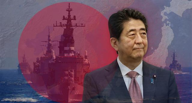Japanese Prime Minister Shinzo Abe and Japan's Maritime Self-Defense Force (JMSDF) destroyer Kurama. (Photo-illustration: Yahoo News; photos: AP (2), Toru Hanai /Reuters)