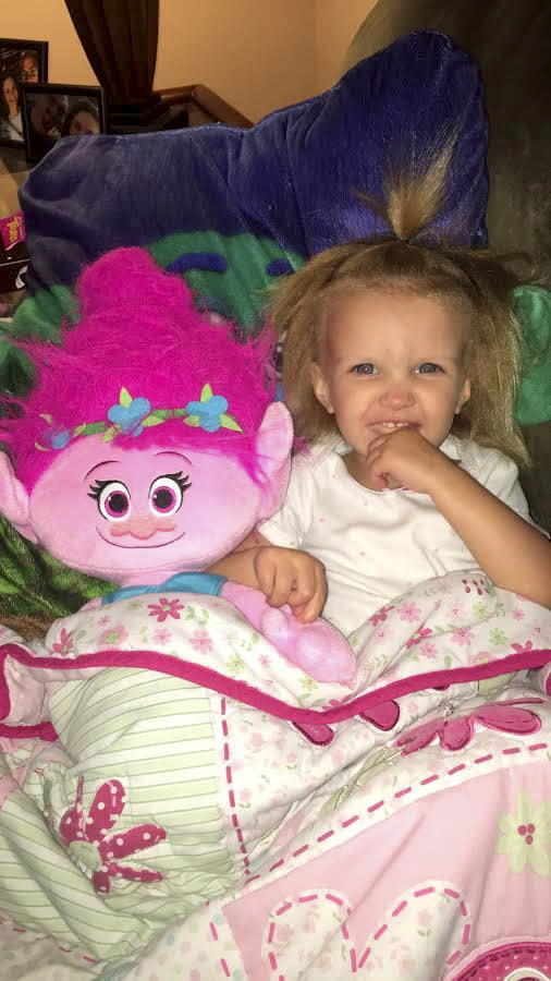 Phoebe thinks her hair is like Princess Poppy's from Trolls [Photo: SWNS]