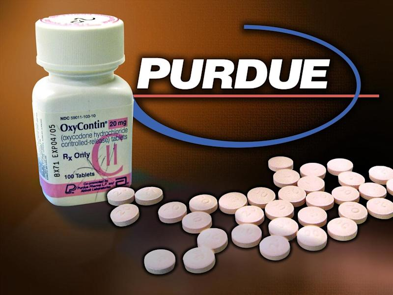 PURDUE Pharma logo over OxyContin bottle and tablets, partial graphic