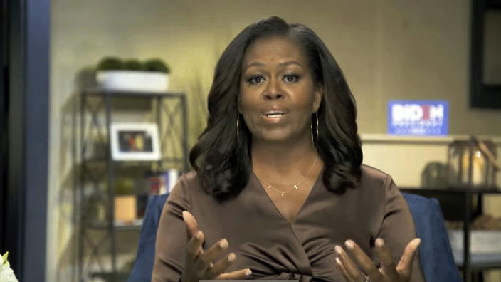 Former first lady Michelle Obama speaks on the first night of the Democratic National Convention on Monday, Aug. 17, 2020.  (Democratic National Convention via AP)