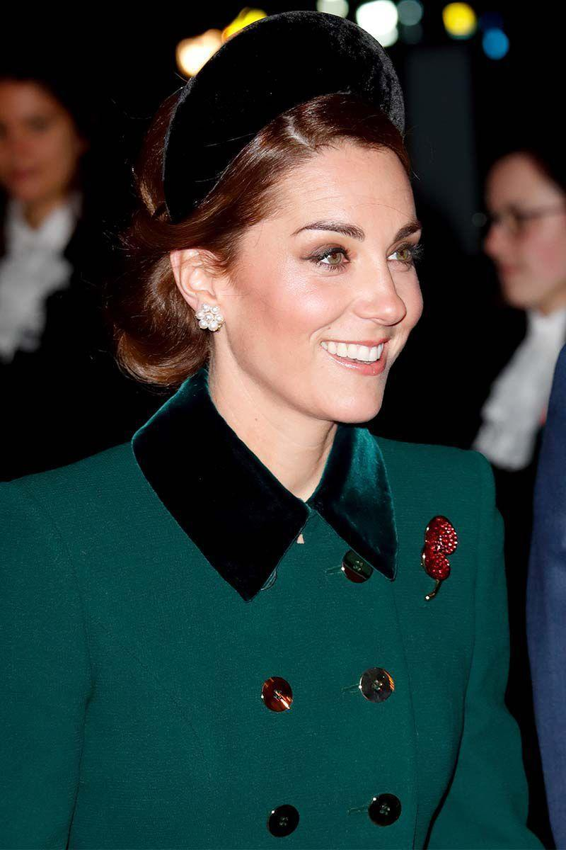 """<p>Attending <a href=""""https://www.harpersbazaar.com/celebrity/latest/a24988908/kate-middleton-green-coat-remembrance-day-westminster-abbey/"""" rel=""""nofollow noopener"""" target=""""_blank"""" data-ylk=""""slk:a Remembrance Day service"""" class=""""link rapid-noclick-resp"""">a Remembrance Day service </a>at Westminster Abbey, the Duchess of Cambridge topped off her updo with a black velvet headband. </p>"""