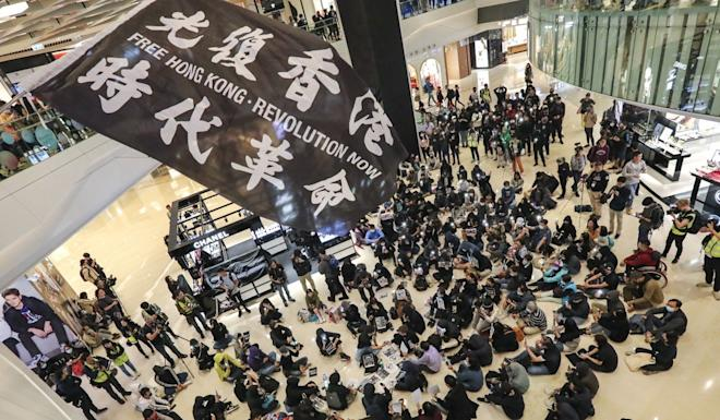 Anti-government protesters at Yoho Mall in Yuen Long on December 21. Photo: Felix Wong