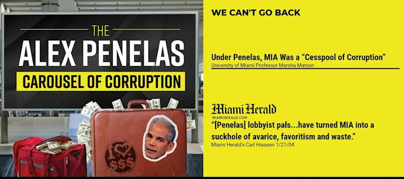 A website, alexpenelastruth.com, produced by the Defender La Justicia political committee criticizes the former county mayor as he runs for the office again in 2020. The committee's chairman is also listed as chairman of the A Better Miami Dade committee, which is running pro-Penelas ads.