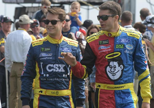 "<a class=""link rapid-noclick-resp"" href=""/nascar/sprint/drivers/1507/"" data-ylk=""slk:Landon Cassill"">Landon Cassill</a> and <a class=""link rapid-noclick-resp"" href=""/nascar/sprint/drivers/629/"" data-ylk=""slk:David Ragan"">David Ragan</a> will not be teammates in 2018. (Getty)"