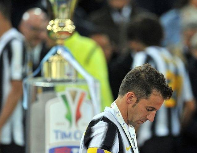 Juventus' forward Alessandro Del Piero reacts after the Cup of Italy Juventus vs Napoli at the Olympic Stadium in Rome on May 20, 2012. Napoli defeated Juventus by 2-0. AFP PHOTO / GABRIEL BOUYSGABRIEL BOUYS/AFP/GettyImages