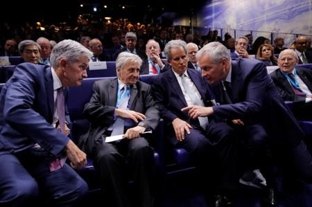 Federal Reserve Board Chairman Powell, former ECB President Trichet, IMF Deputy Managing Director Lipton and French Finance Minister Le Maire attend a conference in Paris