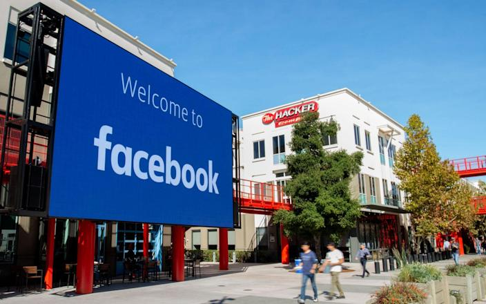 A giant digital sign is seen at Facebook's corporate headquarters campus in Menlo Park, California - JOSH EDELSON /AFP