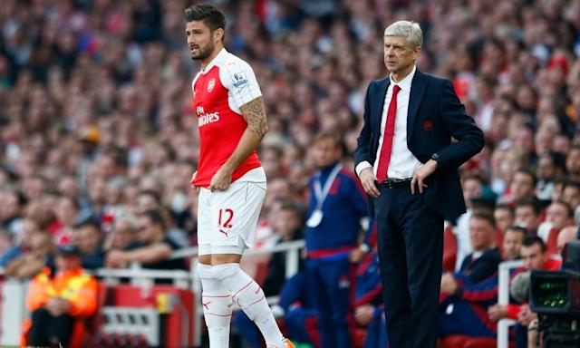 """<span class=""""element-image__caption"""">Olivier Giroud has claimed the Arsenal players are behind Arsène Wenger extending his stay at the club. </span> <span class=""""element-image__credit"""">Photograph: Julian Finney/Getty Images</span>"""