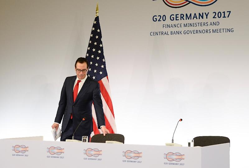 US Secretary of the Treasury Steven Mnuchin arrives for a press conference at the G20 Finance Ministers and Central Bank Governors Meeting in Baden-Baden, southern Germany, on March 18, 2017 (AFP Photo/THOMAS KIENZLE)