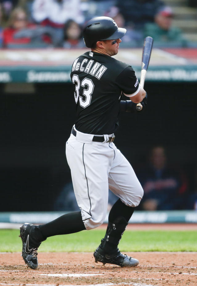 Chicago White Sox's James McCann watches his RBI single off Cleveland Indians starting pitcher Jefry Rodriguez during the sixth inning of a baseball game Tuesday, May 7, 2019, in Cleveland. (AP Photo/Ron Schwane)