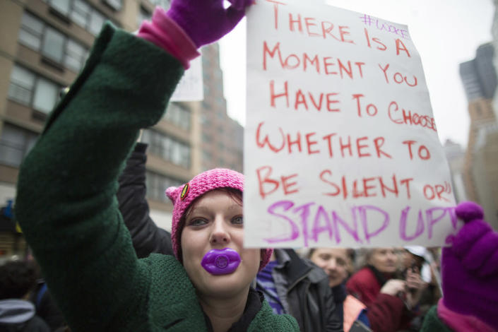 <p>Suzie McCarthy of Jersey City, N.J., participates in a women's march in New York, Saturday, Jan. 21, 2017. (AP Photo/Mary Altaffer) </p>