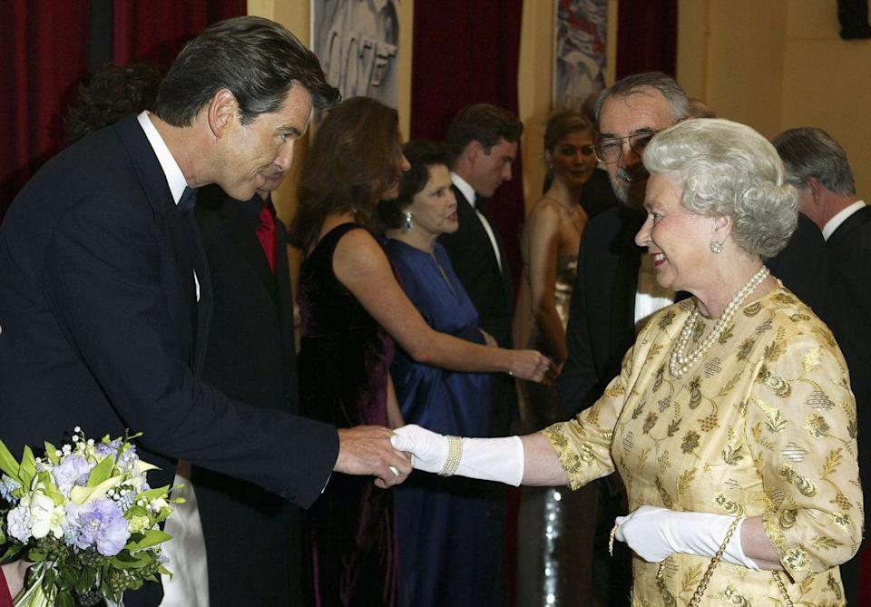 <p>Actor Pierce Brosnan greeted Queen Elizabeth, who attended the <em>Die Another Day </em>premiere with Prince Philip. </p>