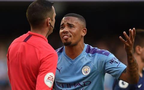 Gabriel Jesus appeals to the ref after his late winner is over-turned - Credit: AFP