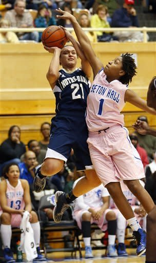 Notre Dame's Kayla McBride (21) goes up for a shot as Seton Hall's Tabatha Richardson-Smith (1) defends during the first half of an NCAA college basketball game in South Orange, N.J. Saturday, Feb. 9, 2013. Notre Dame defeated Seton Hall 69-50. (AP Photo/Rich Schultz)