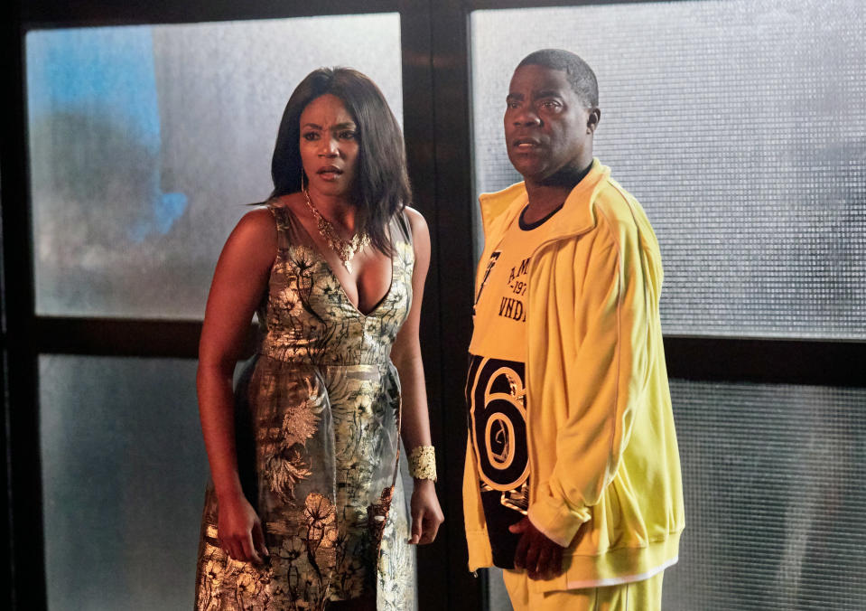 """This image released by TBS shows Tiffany Haddish, left, and Tracy Jordan in a scene from the comedy series, """"The Last O.G."""" The series returns for season three at 10:30 p.m. EDT Tuesday. (Francisco Roman/TBS via AP)"""