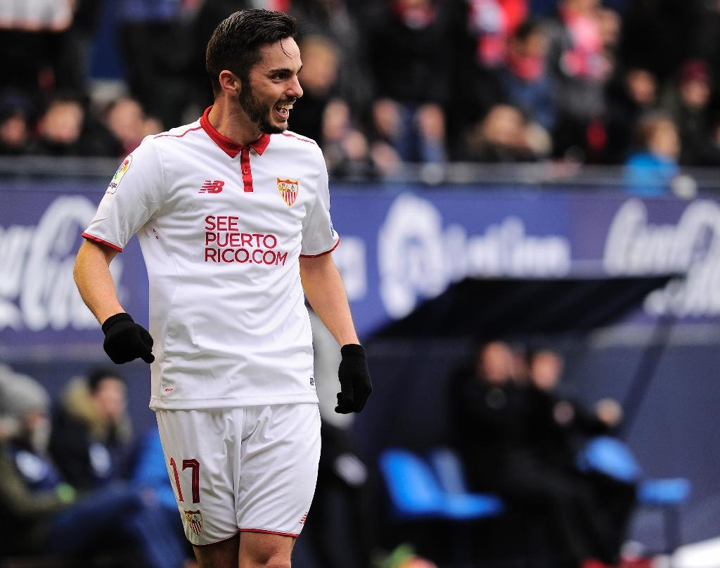 Sevilla's Pablo Sarabia celebrates after scoring his team's fourth goal against Osasuna at El Sadar stadium in Pamplona on January 22, 2017 (AFP Photo/ANDER GILLENEA)
