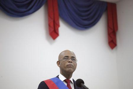 Martelly speaks at a ceremony in Port-au-Prince