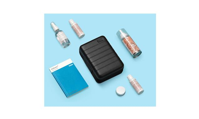"<p>The beauty set, $75, <a href=""https://www.awaytravel.com/holiday-gift-set/black/the-beauty-set"" rel=""nofollow noopener"" target=""_blank"" data-ylk=""slk:awaytravel.com"" class=""link rapid-noclick-resp"">awaytravel.com</a> </p>"