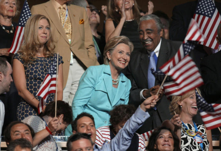 <p>Sen. Hillary Clinton, center, with Rep. Charles Rangel at the Democratic National Convention in Denver, Colo., on Aug. 27, 2008. At left is Chelsea Clinton. (Photo: Charlie Neibergall/AP)</p>