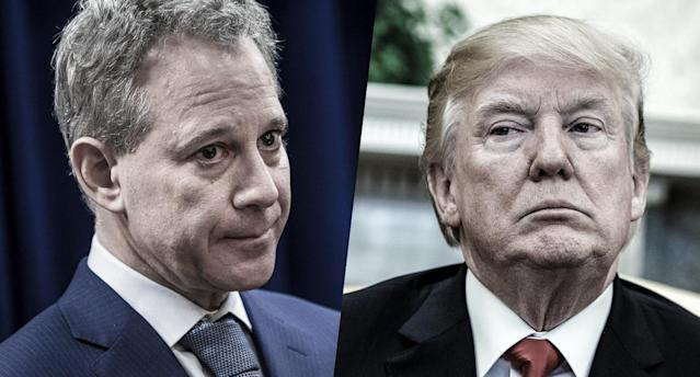 New York state Attorney General Eric Schneiderman and President Donald Trump. (Photos: Drew Angerer/Getty Images)