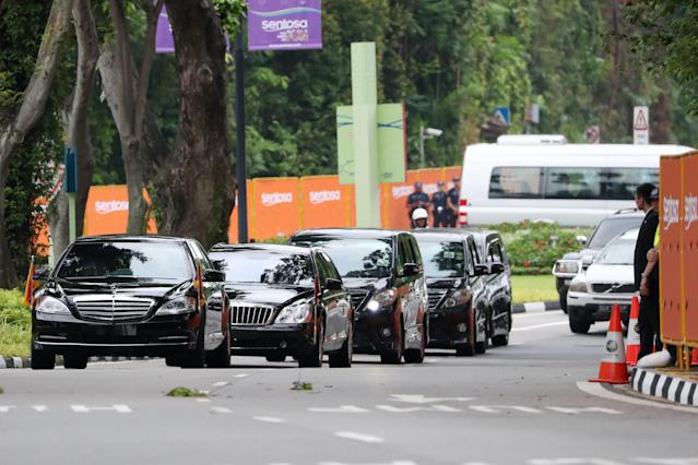 <p>A motorcade carrying North Korean leader Kim Jong Un arrives at the Capella Hotel in Singapore, on Tuesday, June 12, 2018. (Photo: SeongJoon Cho/Bloomberg/Getty Images) </p>