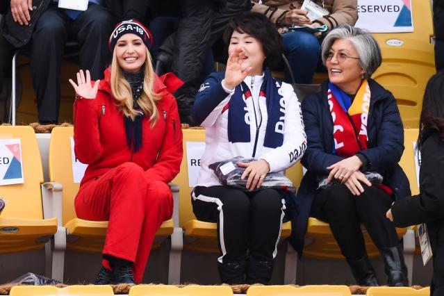 <p>Ivanka Trump (L) waves with wife of Korean President Moon Jae-in, Kim Jung-sook (C) and Korean foreign minister Kang Kyung-wha (R) watching the final of the men's snowboard big air event at the Alpensia Ski Jumping Centre during the Pyeongchang 2018 Winter Olympic Games on February 24, 2018 in Pyeongchang. / AFP PHOTO / Jonathan NACKSTRAND </p>