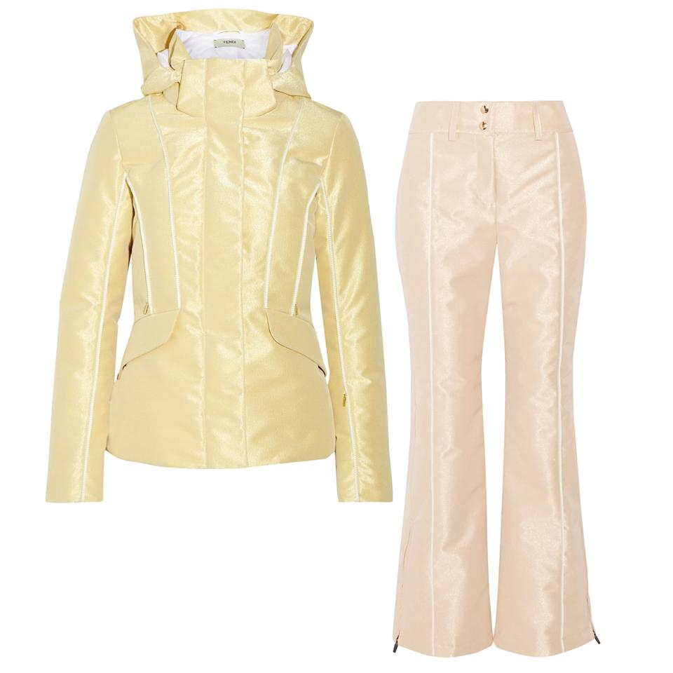 "<p>Fendi's pastel metallics will have you ruling the slopes.</p> <p><strong>Shop the look: </strong>Fendi pastel metallic jacket, $2,600; <a rel=""nofollow"" href=""https://www.net-a-porter.com/us/en/product/890121/fendi/roma-metallic-padded-ski-jacket"">net-a-porter.com</a>. Fendi pastel metallic pants, $1,150; <a rel=""nofollow"" href=""https://www.net-a-porter.com/us/en/product/890128/fendi/metallic-ski-pants"">net-a-porter.com</a>.</p>"