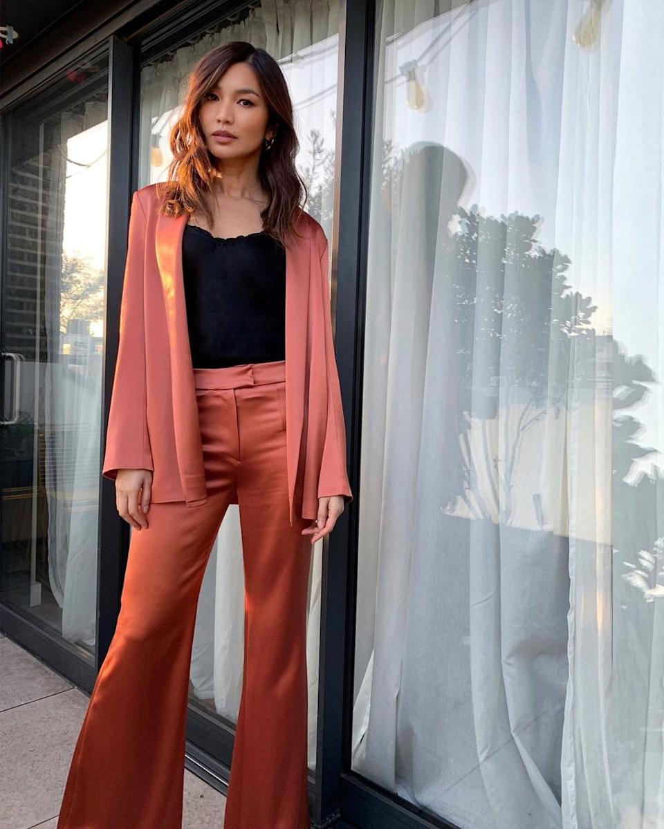 Gemma Chan in pink suit