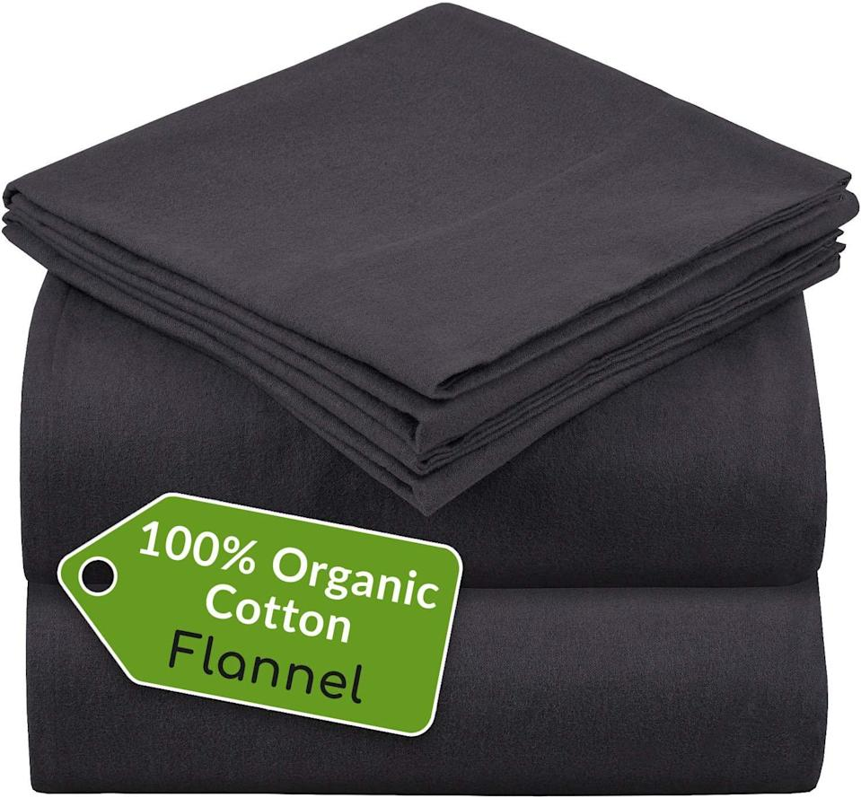 """<br><br><strong>Mellanni</strong> 100% Organic Cotton Flannel Sheet Set - Heavyweight, $, available at <a href=""""https://amzn.to/3mCpQsN"""" rel=""""nofollow noopener"""" target=""""_blank"""" data-ylk=""""slk:Amazon"""" class=""""link rapid-noclick-resp"""">Amazon</a>"""