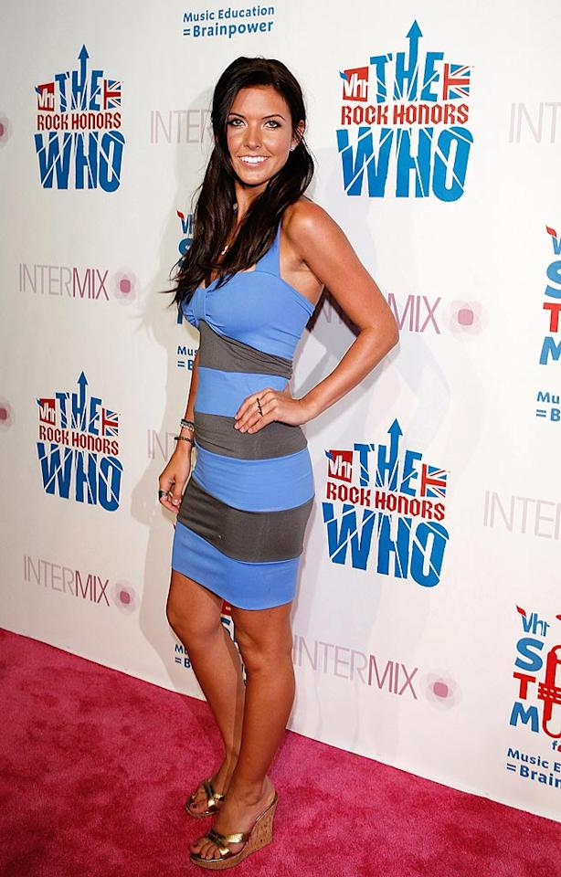 "A sun-kissed Audrina Patridge (""The Hills"") looked like she came straight from the beach in her horizontal striped dress and golden wedges. Jean Baptiste Lacroix/<a href=""http://www.wireimage.com"" target=""new"">WireImage.com</a> - July 11, 2008"