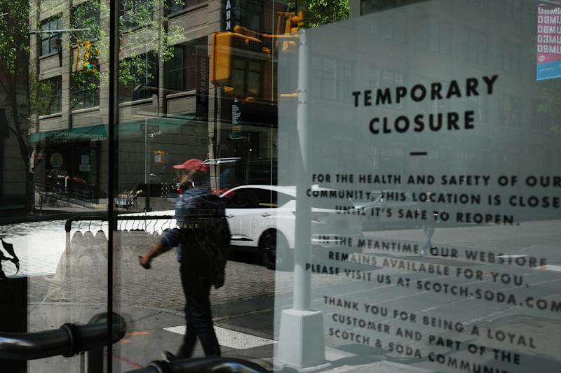 NEW YORK, NY - MAY 02: A business stands closed on May 02, 2020 in the Brooklyn borough of New York City. New York City, which has been the hardest hit city in America from COVID-19, is starting to see a slowdown in hospital visits and a lowering of the daily death rate from the virus. (Photo by Spencer Platt/Getty Images)
