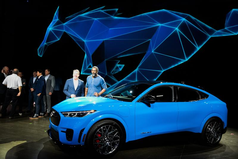 Actor Idris Elba and Bill Ford, executive chairman of Ford Motor. introduce the all-electric Mustang Mach-E SUV in Hawthorne, California