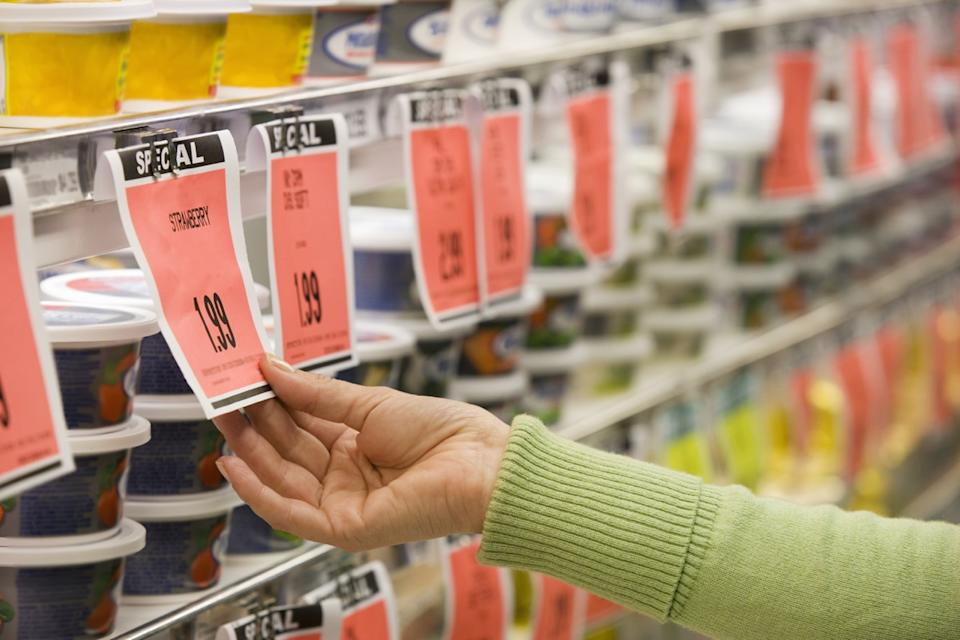 checking price in store of price tag
