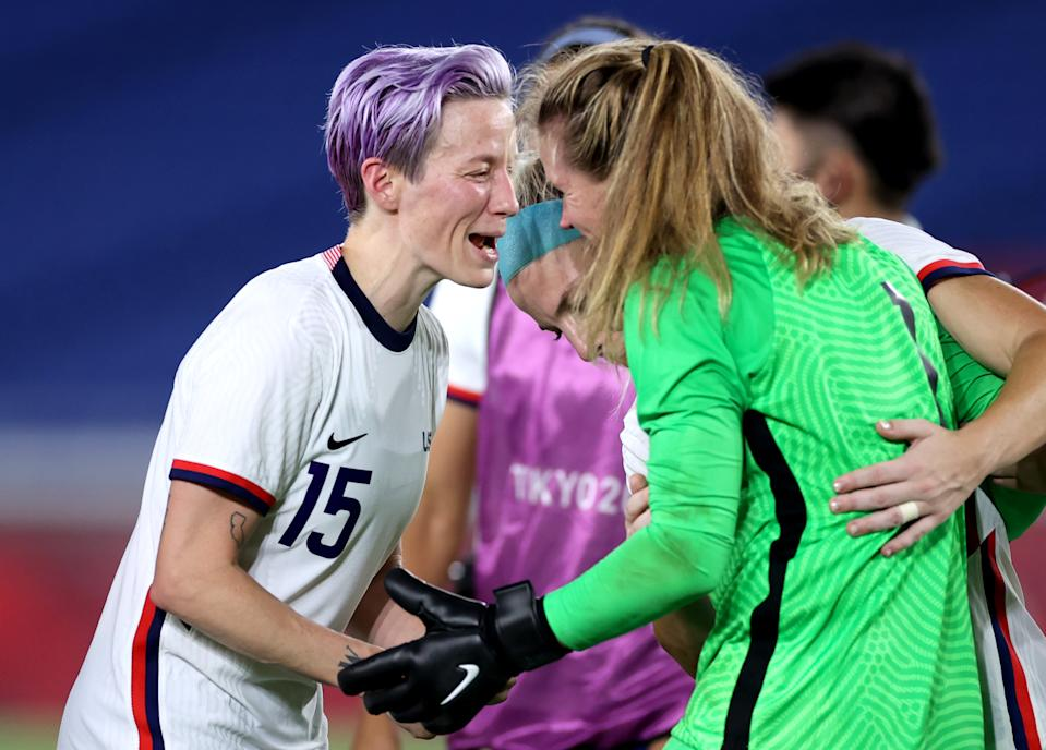 Megan Rapinoe (15) converted the winning penalty and Alyssa Naeher made several huge saves as the USWNT beat the Netherlands to reach the Olympic semifinals. (Photo by Laurence Griffiths/Getty Images)