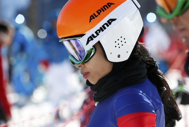 Vanessa-Mae participates in free practice at the Rosa Khutor Alpine Center during the 2014 Sochi Winter Olympics