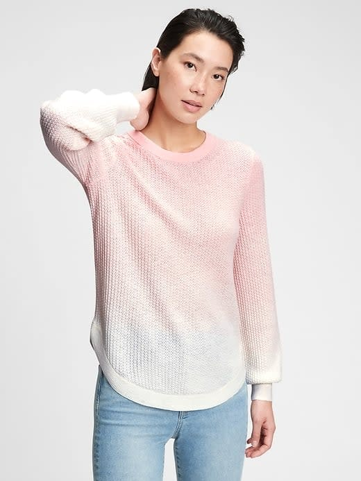 <p>Waffle-knit shirts always have that comfy-cozy effect, like this <span>Gap True Soft Textured Crewneck Sweater</span> ($35-$41, originally $60). Even better it's in tie-dye!</p>