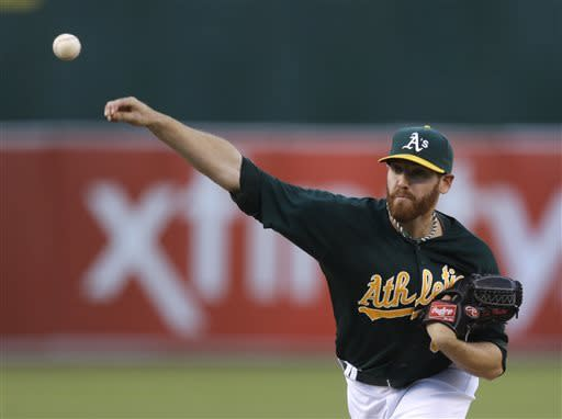 Oakland Athletics' Dan Straily works against the New York Yankees in the first inning of a baseball game on Wednesday, June 12, 2013, in Oakland, Calif. (AP Photo/Ben Margot)