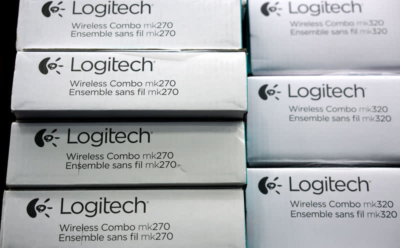 Logitech computer keyboards are on sale at an electronics store in Westminister